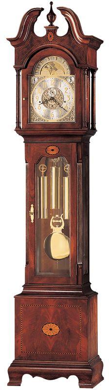 Cherry Inlay Kieninger Grandfather Clock w Elaborate Dials - Grandfather Clock, Pediment, Crown