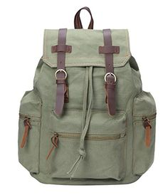 Mens Canvas Leather College Children School Bookbag Laptop Rucksack Backpack (Green) * This is an Amazon Affiliate link. Check out the image by visiting the link.