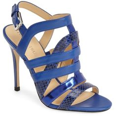 Ivanka Trump Haslets Strappy Sandal ($80) ❤ liked on Polyvore featuring shoes, sandals, ivanka trump shoes, strap sandals, leather strappy sandals, snakeskin sandals and open toe sandals