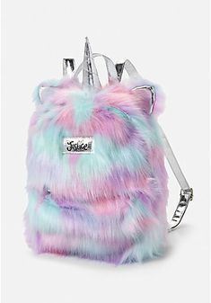 Justice Girl's Magical Unicorn Faux Fur Silver Pastels Mini Backpack Bag NWT – Outfit Ideas for Girls Mini Backpack, Backpack Bags, Little Girl Backpack, Diaper Backpack, Diaper Bag, Mode Kawaii, Unicorn Fashion, Unicorns And Mermaids, Cute Backpacks