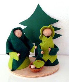 Weihnachtskrippen/basteln-Maria-Josef-Krippe-Weihnachten-Tannenbaum-Holzkugeln
