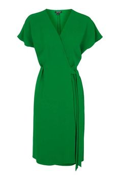 Pretty Green Wrap Dress for Fall Holidays