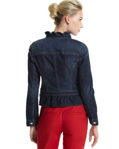 """RUFFLED PEPLUM DENIM JACKET  STYLE: 570057831  Top-stitched panel seaming. Gathered peplum. Long, one-button sleeves with open placket.  Hits at upper hip. (From shoulder: 22.5"""" in front; 21"""" in back)."""