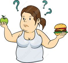 Overweight woman in a white tank top trying decide between a burger and an apple #diet #fat #fitness #health #loseweight #overweight #ponytail #unhealthy #weightloss #woman