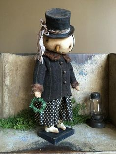 Felt Snowman, Frosty The Snowmen, Cute Snowman, Snowman Crafts, Primitive Snowmen, Primitive Crafts, Primitive Christmas, Christmas Snowman, Christmas Sewing