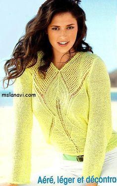 ажурный пуловер спицами http://mslanavi.com/2014/05/azhurnyj-pulover-spicami-v-limonnom-cvete/