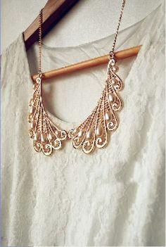 Fashion-Korea-Fashion-Elegant-Metal-Hollow-Out-Pearl-Wings-Bib-Collar-Necklace