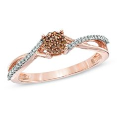 Zales 1/6 CT. T.w. Champagne and White Diamond Slant Band in 10K Rose Gold r5FZh