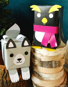 Animal Gift Wrap - Dress up your packages for the kids with our printable templates to create adorable animal gift wrap. Our characters include a penguin, kitty and reindeer!