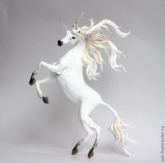 White Unicorn Horse Skulpture Figurine Art by DemiurgusDreams, $275.00