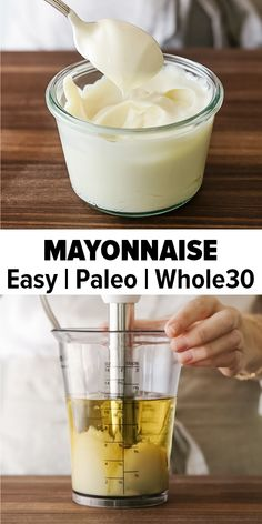 No-Fail Homemade Mayonnaise Recipe (in 1 minute!) Mayonnaise is really easy to make and only takes one minute with a stick blender or immersion blender. This mayonnaise recipe is also paleo-friendly a Homemade Mayonaise, Homemade Sauce, Paleo Mayonaise Recipe, Homemade Recipe, Healthy Recipes, Cooking Recipes, Cookbook Recipes, Healthy Cooking, Immersion Blender Recipes