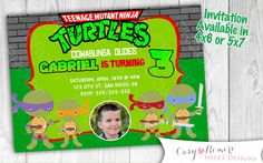 Ninja Turtles  Digital Invitation by SweetDesignsCR on Etsy