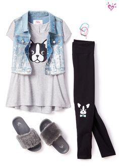 Paw-some style = bulldog tees and made-to-match leggings!