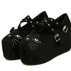 """use my code """"cherusakitty"""" for 10% off all products! Cute cat face platform shoes"""