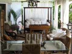 Divine Traditional Outdoor Sitting Room Designs With White Outdoor Curtains Added Wooden Canopy Daybed Feat White Cushions As Well As Glass Table Decors In Romantic Porch Decors Canopy Over Bed, Daybed Canopy, Hotel Canopy, Canopy Curtains, Canopy Bedroom, Diy Canopy, Outdoor Curtains, Canopy Outdoor, Fabric Canopy