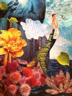Remember my first and probably best mermaid collage? The pregnant mermaid in an apron having a conversation with a dragonfly? Mermaid Island, Mermaid Art, Mermaid Prints, Mermaids And Mermen, Merfolk, Fairy Art, Sea Creatures, Prints For Sale, Deities