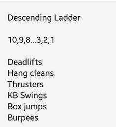 WOD descending ladder - sooo difficult, I'll do it again and get all the way through!