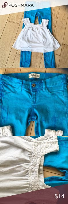 Abercrombie Kids Tye Die Style Jeans & Lucky Top Such a cute outfit!   Jeans are in really good condition. No wear or tear at all.  Jeans are 16 slim.  Top is from Lucky Brand girls Medium. Bottom hem on shirt was mended in a small spot but not noticeable, just wanted to be honest!  Non smoker home! I give a bundle discount as well! abercrombie kids Matching Sets