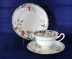 """SHELLEY China TRIO """"Gainsborough"""" Cup Saucer & Plate - FOLIAGE  Patt.# 11473 #CupsSaucers"""