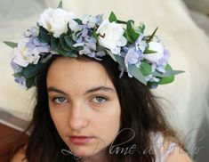 Bluebird- Flower crown / hair circlet - blue and white flowers. Roses, hydrangea and foliage hair flowers.