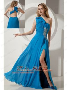 Sexy Sky Blue One Shoulder Backless Prom / Evening Dress On Sale  www.fashionos.com  http://www.facebook.com/quinceaneradress.fashionos.us     A stunning chiffon evening gown with one shoulder bodice that dazzles with a beaded applique at the waist. The floor length skirt flares out from the dropped waist to give this ball gown a special look for prom. A flattering long prom dress that showcases your beautiful back with wide straps and a low cut.