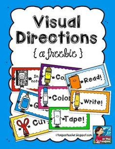 Visual Direction Cards: Great to post after you've given verbal directions! Organization And Management, Classroom Organization, Kindergarten Classroom Management, Daycare Curriculum, Classroom Tools, Classroom Environment, Primary Classroom, Classroom Setup, Class Management