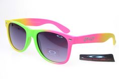 Oakley Frogskins Sunglasses Yellow Pink Green Frame Black Lens 0418