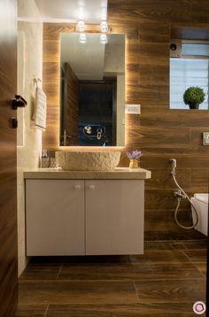 Zeitgenössische 2 BHK Interior Design Indien: Mumbai Home Interiors Washroom Design, Bathroom Design Luxury, Modern Bathroom Design, Home Interior Design, Washroom Vanity, Hall Interior, Modern Bathrooms, Bathroom Basin, Bathroom Vanities
