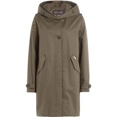 Woolrich Prescott Cotton Parka (€320) ❤ liked on Polyvore featuring outerwear, coats, green, green parka, hooded parka coat, woolrich coats, brown parka and green hooded coat