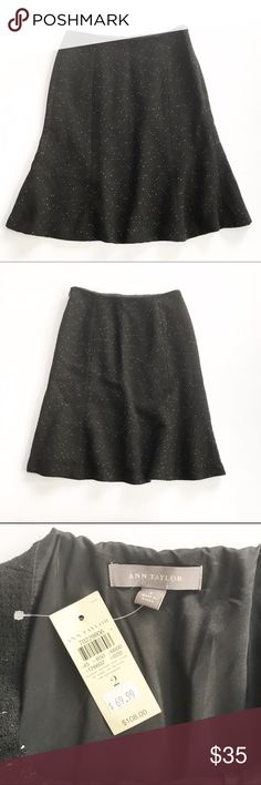 "NWT Ann Taylor tweed skirt Brand new with tags, black and white pattern tweed skirt. Size 2 from Ann Taylor, originally $109. Features hidden side zipper. Flat measurements are waist: 14"", hips: 18.5"", length:  22"". Falls just below the knee. Ann Taylor Skirts Midi"