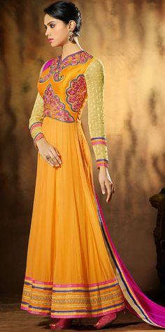 USD 55.28 Orange Faux Georgette Ankle Length Anarkali Salwar Kameez 43011