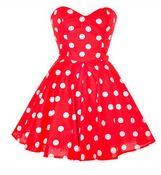 Image of [gryxh3600560]retro point halterneck dress skirt black rose red pink