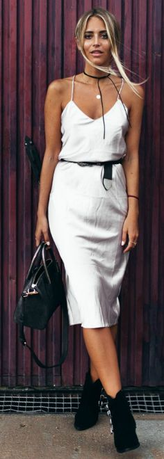 White slip dress + ankle boots + perfect Autumn combination + Janni Delér + elegant jewellery pieces Choker: Na-kd, Dress: Verge Girl, Belt: Nelly, Bag: Beowulf, Shoes: Misguided
