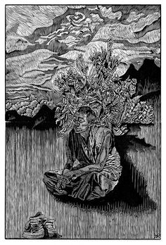 Mei Chen Tseng. Tibet~The Monk. 2012. (wood engraving)