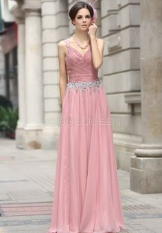Natural Waist Straps A line Chiffon Evening Gowns - Voguequeen.com