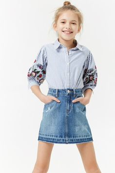 Girls Frayed Denim Skirt (Kids)