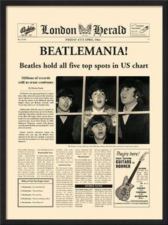 London Herald The Beatles Beatlemania Vintage Newspaper Decorative Art Poster Print 12 by 16 Ringo Starr, The Beetles, Beatles Poster, Vintage Newspaper, Newspaper Wall, Newspaper Headlines, Bujo, Newspaper Article, Man On The Moon