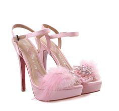 PARIS HILTON Pink Bridal Satin High-heeled Sandals. Γυναικεία ροζ σατέν νυφικά πέδιλα.