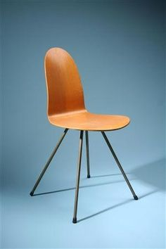 Arne Jacobsen; Bent Plywood and Metal 'Tongue' Chair for Fritz Hansen, 1958