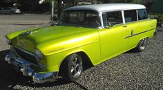 """Jay Andresen Shares His 1955 Chevrolet 210 Handyman Wagon with a """"1969 Corvette 327 engine, Edelbrock carb, headers, TH-350 trans and Nova rear differential. Front power disc brakes, 2-inch dropped spindles and power steering. This was completely built in my garage by my wife and I. Southern Rods AC"""" #wagonwednesday #stationwagon"""