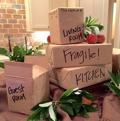 Moving boxes centerpiece for a going away party. Moving from Mississippi to Georgia so I added magnolia leaves and peaches to represent both states. Streamer Party Decorations, Party Centerpieces, Moving Away Parties, Goodbye Party, Trunk Party, Best Housewarming Gifts, Farewell Parties, Super Party, Party Themes