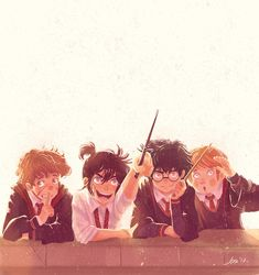 Messrs Moony, Padfoot, Prongs and Wormtail. by http://alessiajontrunfio.tumblr.com/