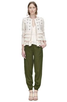 Tweed Embroidered Fringe Jacket Front View