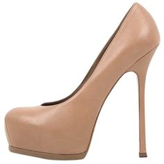 Pre-owned Saint Laurent Tribute Platform Nude Pumps (€420) ❤ liked on Polyvore featuring shoes, pumps, nude, nude court shoes, round cap, round toe pumps, platform shoes and nude pumps