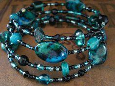 Beaded+Memory+Wire+Bracelet+Multi+Strand+Black+by+SlightlyWired,+$18.50