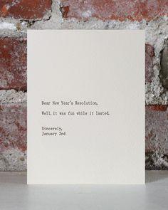 dear new year's resolution holiday letterpress card