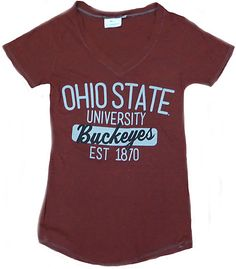 super popular f10d1 6d338 Ladies Ohio State Buckeyes Slouch Tri-Blend V Neck T Shirt By J. America
