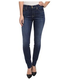 7 For All Mankind Mid Rise Skinny in Lovely Medium Blue