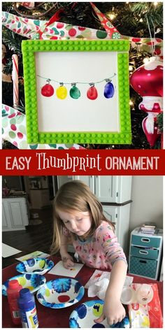 Easy Thumbprint Ornament Craft for kids of all ages. Use their little thumbprints to make Christmas lights and then frame the masterpiece with popsicle sticks and Mayka toy block tape for an adorable keepsake ornament. by PenneyLane.com