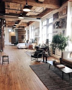 26 Spacious Loft Interiors Messagenote.com Wooden panels